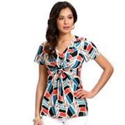 daisy fuentes Brushstroke Knot-Front Empire Top
