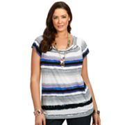daisy fuentes Printed Smocked Top - Women's Plus