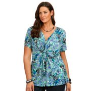 daisy fuentes Printed Knot-Front Empire Top - Women's Plus