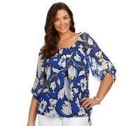 daisy fuentes Floral Drawstring Peasant Top - Women's Plus