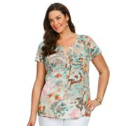 daisy fuentes Printed Smocked Henley - Women's Plus