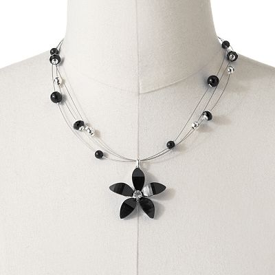 Croft and Barrow Silver Tone Simulated Crystal Multistrand Beaded Flower Pendant