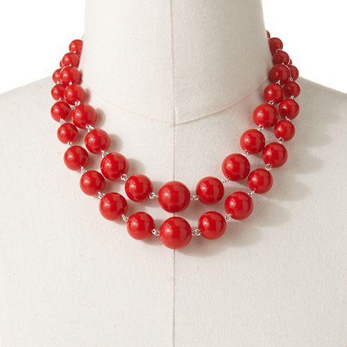 Croft & Barrow® Silver Tone Multistrand Beaded Necklace