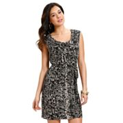 daisy fuentes Geometric Shirred Shift Dress - Petite