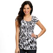 daisy fuentes Ikat Smocked Empire Top - Petite