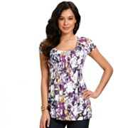 daisy fuentes Brushstroke Smocked Empire Top - Petite