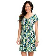 daisy fuentes Floral Smocked Empire Dress