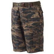 G and M Chicago Canvas Belted Camo Cargo Shorts