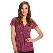 daisy fuentes Animal Knot-Front Top