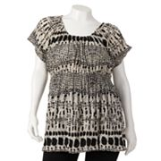 daisy fuentes Splatter Crinkled Empire Top - Women's Plus