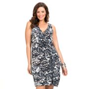 daisy fuentes Faux-Wrap Dress - Women's Plus