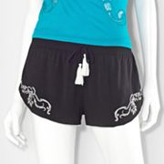 Princess Vera Wang Embroidered Shortie Shorts - Juniors