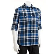 SONOMA life + style Plaid Slubbed Casual Button-Down Shirt