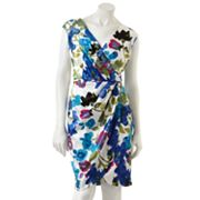 Suite 7 Floral Satin Faux-Wrap Dress