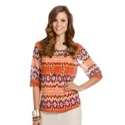 daisy fuentes Geometric Chiffon Top Set