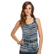 daisy fuentes Striped Banded-Bottom Top