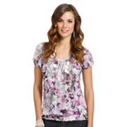 daisy fuentes Watercolor Crinkle Top