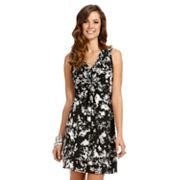 daisy fuentes Floral Knot-Front Empire Dress - Petite