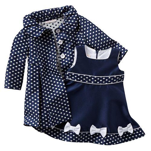 1ea531a59 Bonnie Jean Jacquard Polka-Dot Coat & Dress Set - Baby