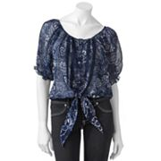 Mudd Paisley Tie Front Peasant Top - Juniors