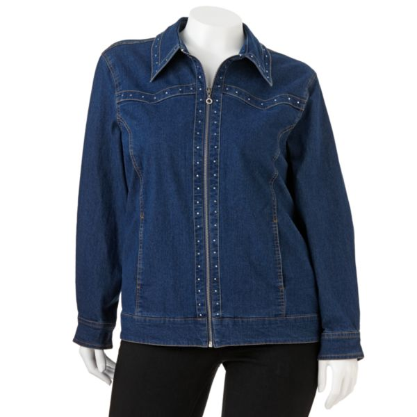 Cathy Daniels Embellished Denim Jacket Women,s Plus