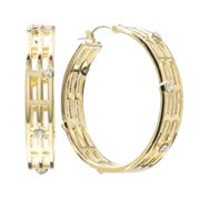 Jennifer Lopez Gold Tone Simulated Crystal Openwork Hoop Earrings