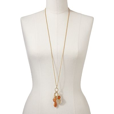 Jennifer Lopez Gold Tone Simulated Crystal and Bead Pendant