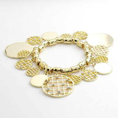 Jennifer Lopez Gold Tone Simulated Crystal Openwork Charm Stretch Bracelet