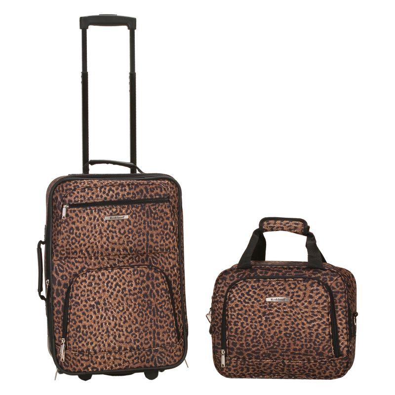 Rockland Print 2-Piece Luggage Set, Brown