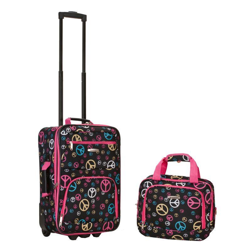 Rockland Print 2-Piece Luggage Set, Black