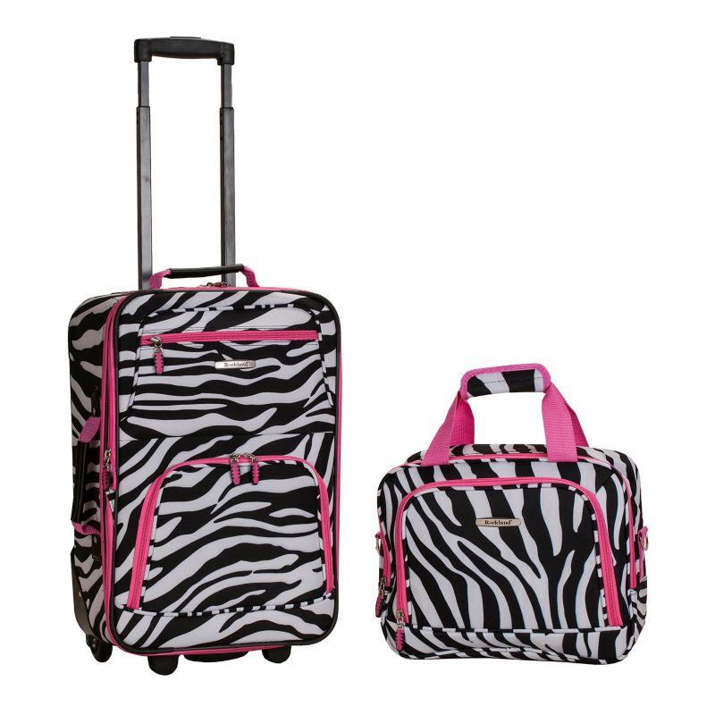 Rockland Print 2-Piece Luggage Set, Pink