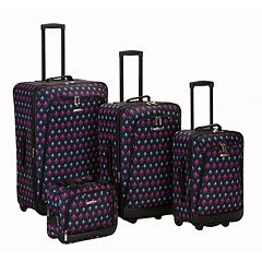 Rockland Print 4-Piece Luggage Set