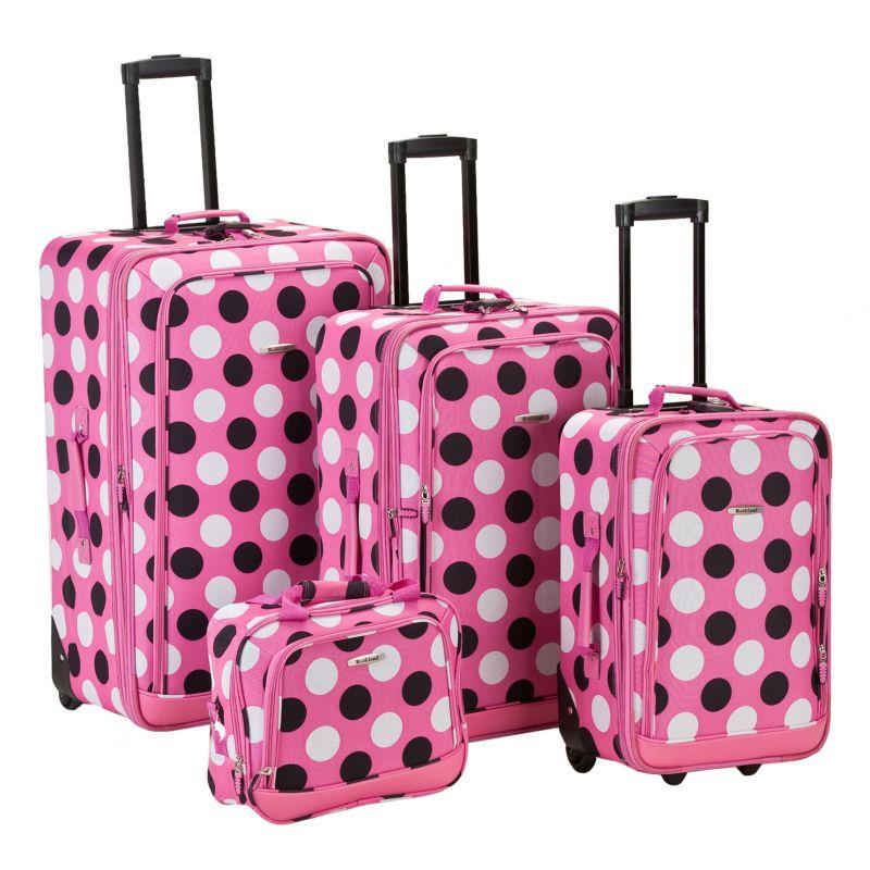 Rockland Print 4-Piece Luggage Set, Pink
