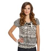 daisy fuentes Splatter Crinkled Banded-Bottom Top - Women's Plus