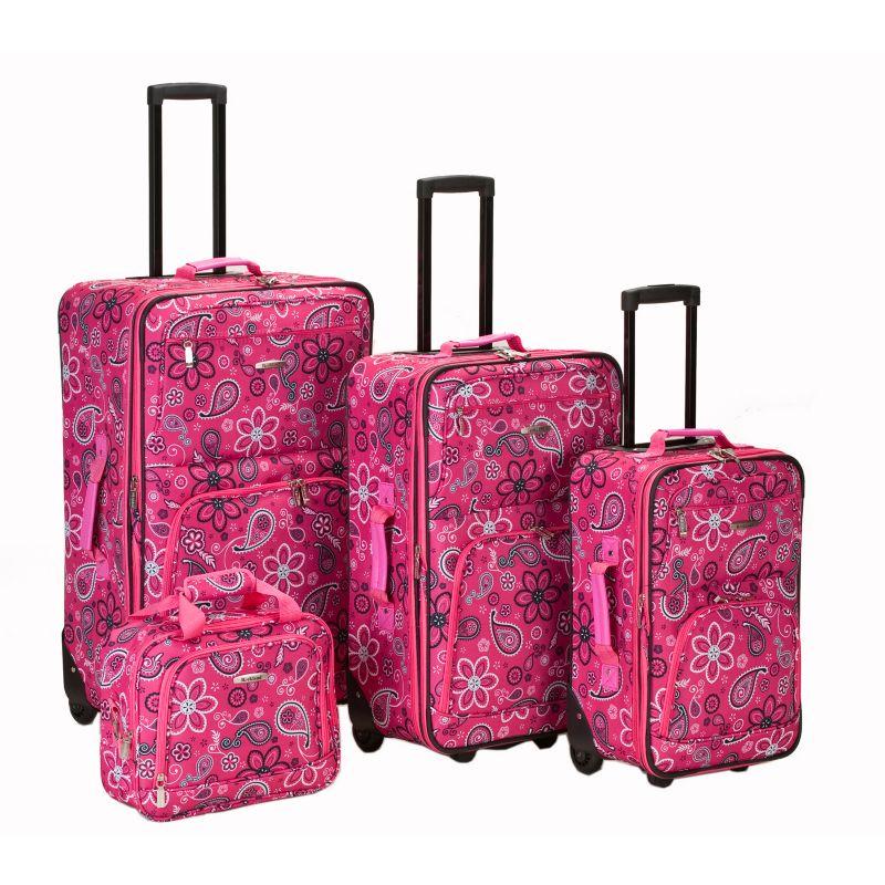 Rockland 4-Piece Print Luggage Set, Pink