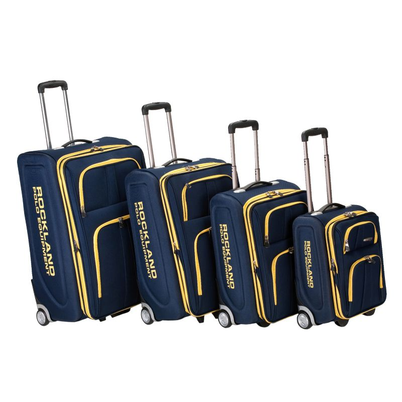 Rockland Polo Equipment 4-Piece Wheeled Luggage Set, Blue