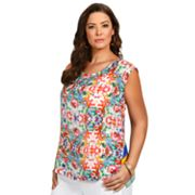 daisy fuentes Printed Crepe Top - Women's Plus