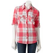 SONOMA life + style Plaid Roll-Tab Linen Blend Shirt