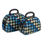 Rockland Luca Vergani Blue Polka-Dot 2-pc. Cosmetic Bag Set