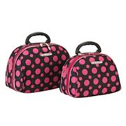 Rockland Luca Vergani Pink Polka-Dot 2-pc. Cosmetic Bag Set