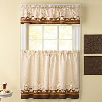 CHF Cafe Au Lait 3 pc Tier Kitchen Curtain Set