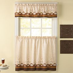 CHF Cafe Au Lait 3-pc. Tier Kitchen Curtain Set