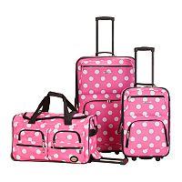 Rockland Luggage, 3 pc Wheeled Luggage Set
