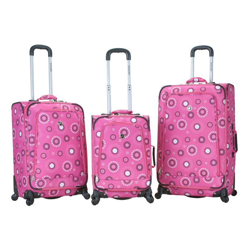Rockland 3-Piece Polo Equipment Spinner Luggage Set, Pink
