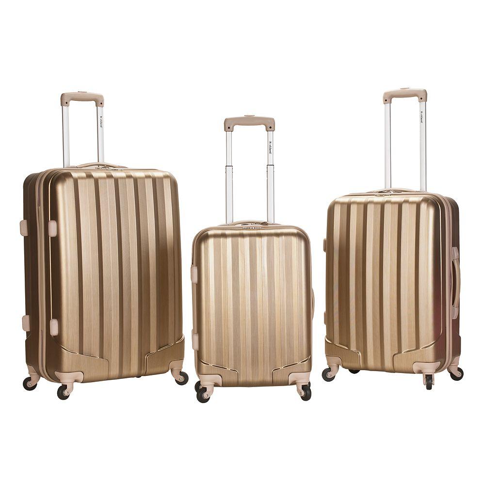 Rockland 3-Piece Hardside Spinner Glossy Luggage Set