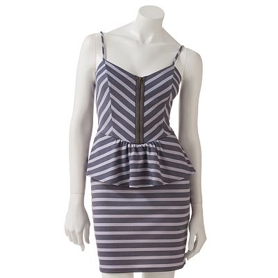 Eyelash Zigzag Peplum Dress - Juniors