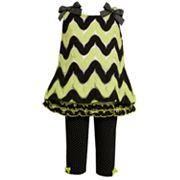 Bonnie Jean Flamestitch Dress and Polka-Dot Leggings Set - Baby