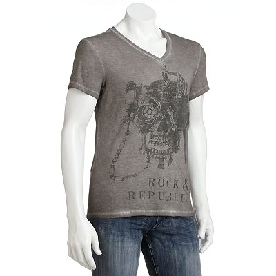 Rock and Republic Steampunk Skull V-Neck Tee