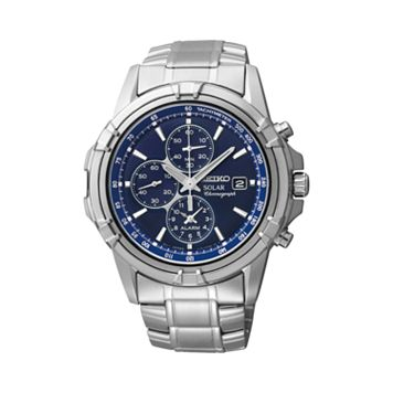 Seiko Men's Stainless Steel Solar Chronograph Watch - SSC141