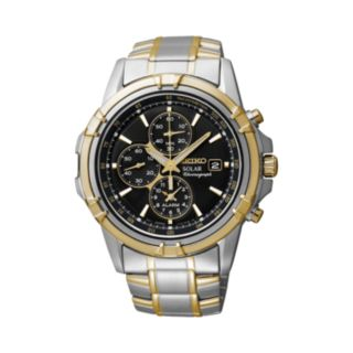 Seiko Men's Two Tone Stainless Steel Solar Chronograph Watch - SSC142